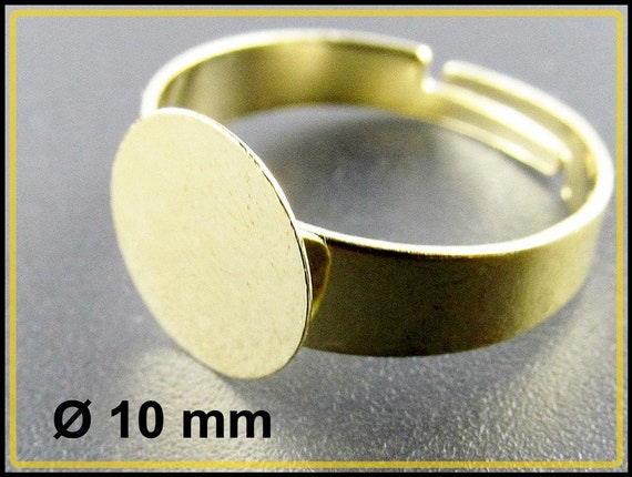 100 GOLD PLATED Adjustable Finger RING BLANKS ~ Flat 16mm pad ~ Add Beads Cabs