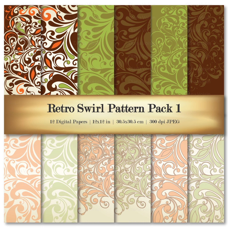 Retro Swirl Digital Scrapbook Paper Variety Pack Green