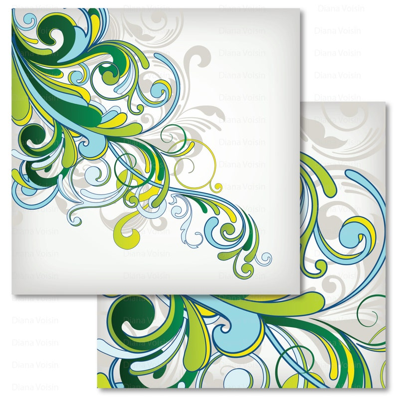 Commercial Use OK Retro Swirl Digital Scrapbook Paper Variety Pack Green Blue Yellow Patterns
