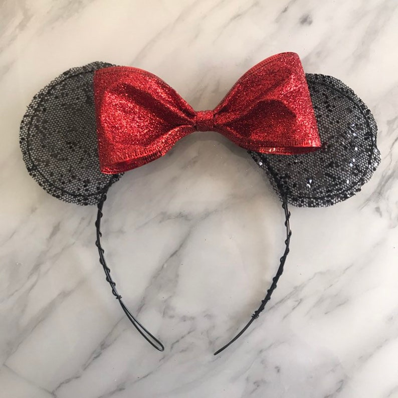 Black and red glitter minnie ears