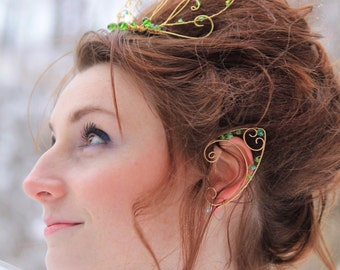 Wire Elvin/ Fairy Ear Cuffs - Gold and Green