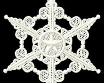 Embroidered Floating Snowflake Ornament