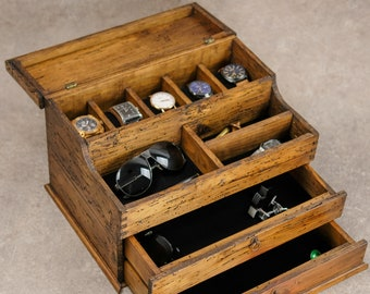 Men's Valet, Watch Case, Men's Watch Box, Valet Box, Watch Box for Men, Watch Box, Men's Valet Box for 5 watches with Double Drawer