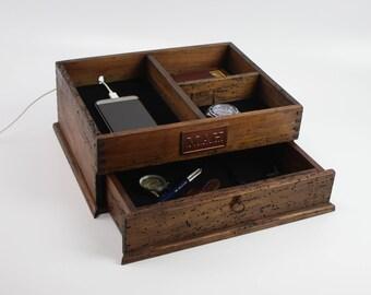 Men's Valet Box, Valet Box, Organization Box, End table box, Phone Charging Station, Boyfriend Gift, Men's Valet, NightStand Box