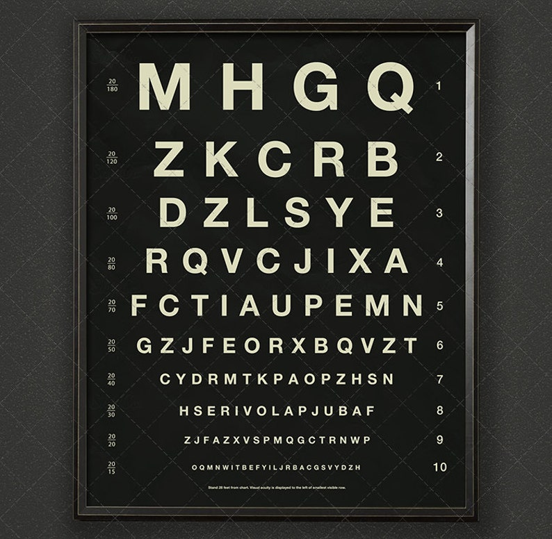 e3ae16a4e5 Gráfico de Herman Snellen Vintage Ojo con letras | Etsy