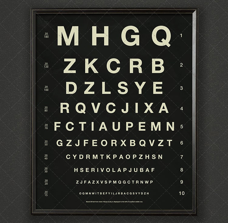 Herman Snellen Eye Chart With Letters Vintage Opthalmology Etsy