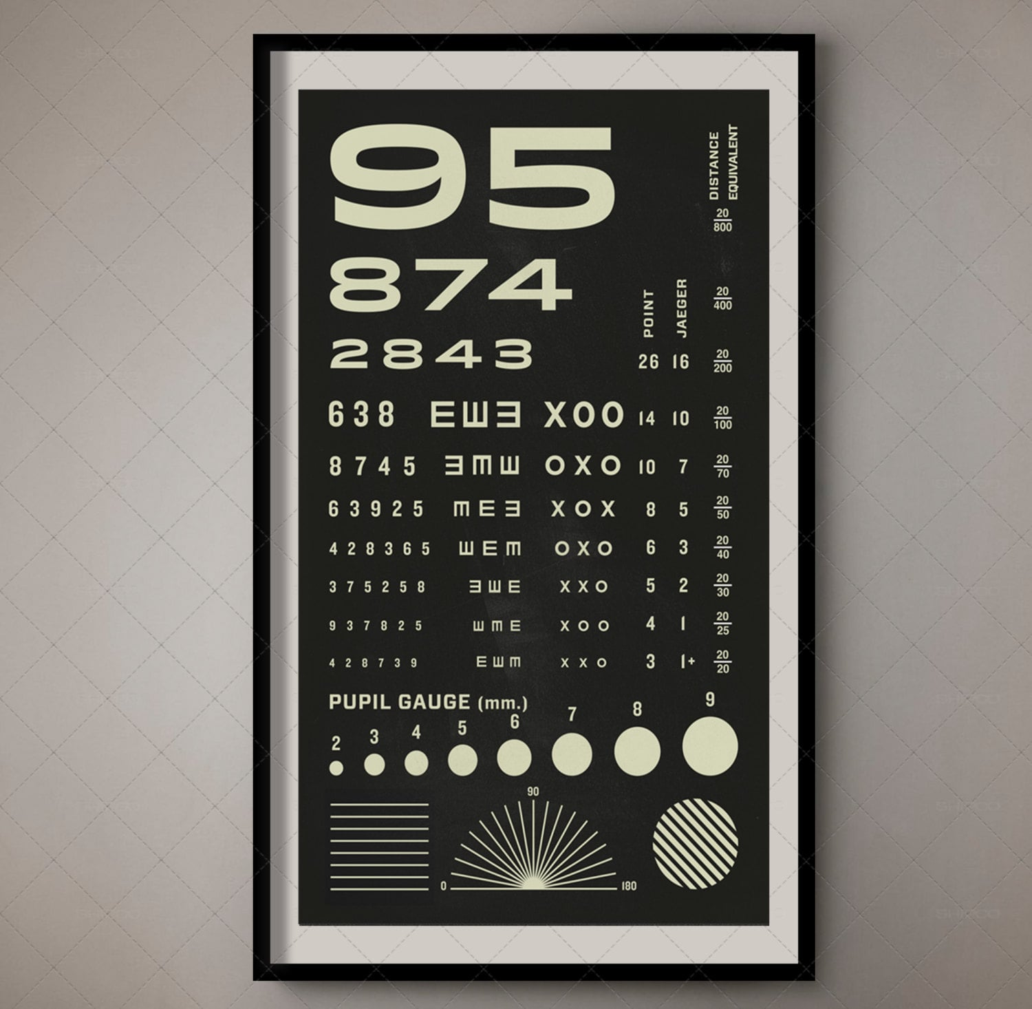 Rosenbaum Eye Chart Pocket Vision Test for Optometrists / Vintage Vision  Exam Ultimate Near Vision Screener for Ophthalmology Snellen Chart