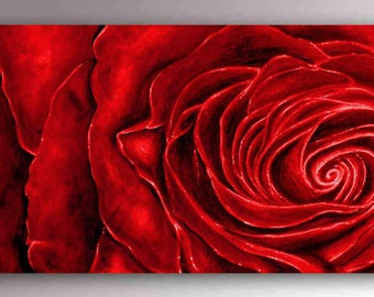 Red Rose Painting | Red Rose Art | Red Roses Canvas | Flower Painting | Valentine | Red Painting | Rose Wall Art | Red Velvet | Modern Art