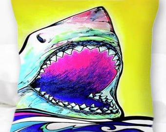Great White Shark Pillow | Shark Decor | Shark Art | Nautical Pillows | Great White Pillow Cover | Home Decor | Surf Decor | Sea Life | Neon