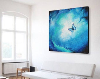 Blue Butterfly Painting | Boho Decor | 36x36 Painting | Blue Painting | Corporate Art | Large Abstract Painting | Spiritual Art | Office Art