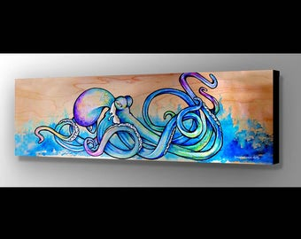 Blue Octopus Art | Octopus Wall Art | Octopus Painting | Octopus Canvas | Surf Decor | Beach Decor | Sea Life Painting | Octopus Art Print