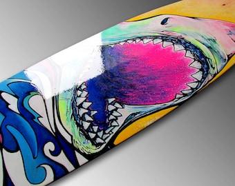 Great White Shark Painting Longboard Hand Painted Great White Painting Skateboard Ocean Sea Life Surfer Gift Beach Decor Jaws Shark Art