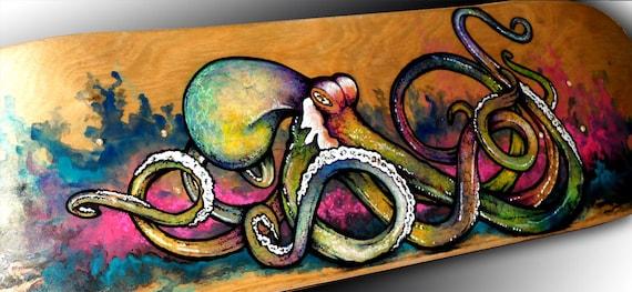 Octopus Wall Art Skateboard Deck Art Octopus Painting | Etsy