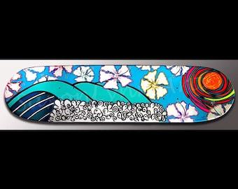 Wave Surf Art Painting | Surf Decor | Skateboard Art | Hibiscus Flower Painting | Waves | Surf | Beach Decor | Skateboard Decor | Abstract