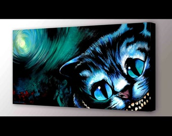Cheshire Cat Wall Halloween Art Alice in Wonderland Decor We're All Mad Here Cheshire Cat Canvas Witchy Decor Goth Decor Black Cat Art