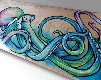 Octopus Art | Skateboard Decor | Surf Art | Nautical Decor | Sea Life Art | Beach Decor | Surf Decor | Octopus Painting | Octopus Gift