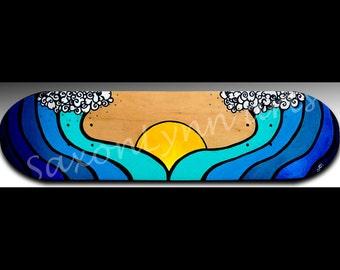 Ocean Wave Painting | Personalized Gift | Custom Art | Surfer Girl | Skateboard Painting | Waves | Surf Art | Skater Girl | Beach Decor