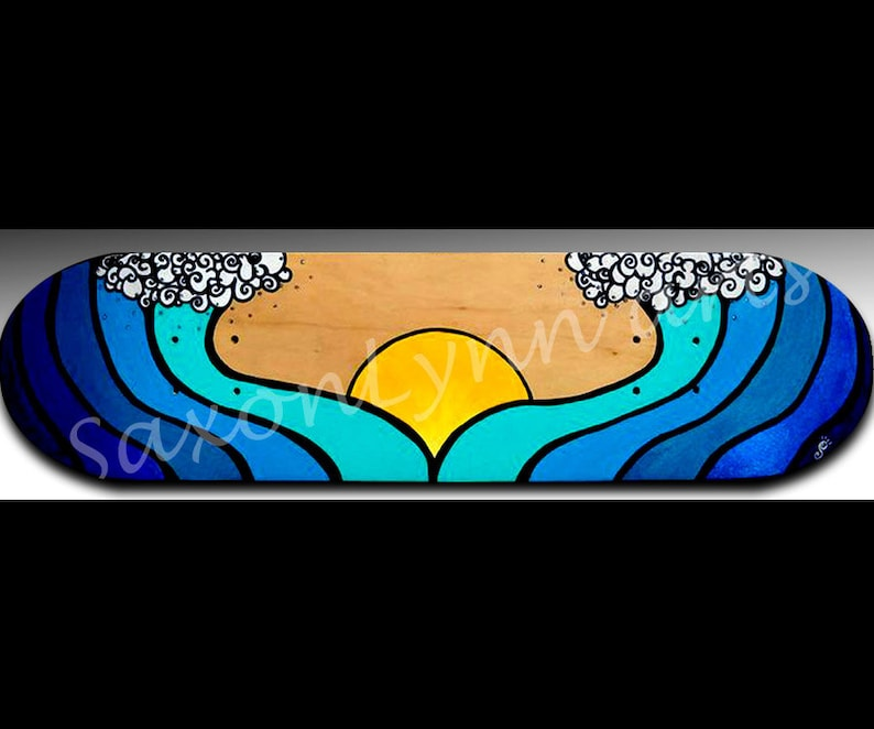 Ocean Wave Painting  Personalized Gift  Custom Art  Surfer image 1