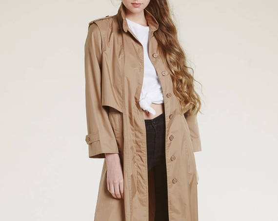 vtg neutral trench - dimensional shape and bodice xs s m