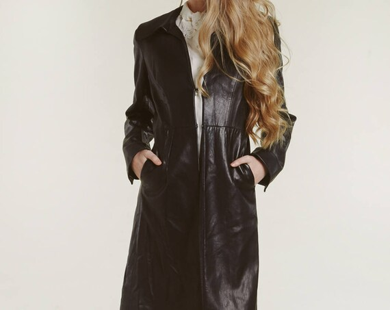 90s DKNY leather trench duster