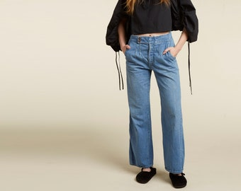 late 70s pleated front high waisted jeans