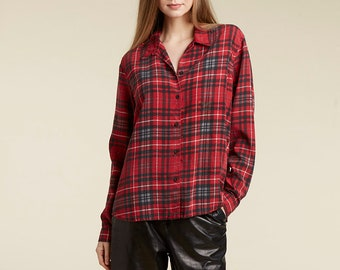 unique 90s graphic red / plaid button down blouse / silk-like /