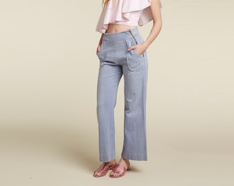unique 70s zipper front wide leg jean