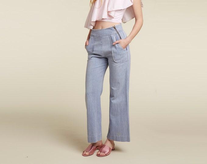 unique 70s zipper front wide leg jean