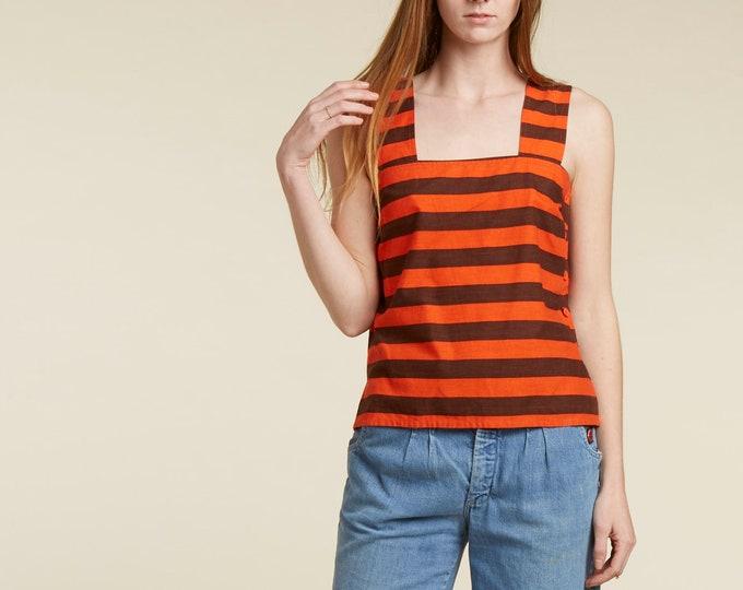 70s vtg designer / guy laroche / striped cotton button tank top / iconic