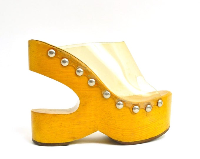 60s sculptural haute collectible extremely rare wooden platforms - kimel - 5 5.5 35
