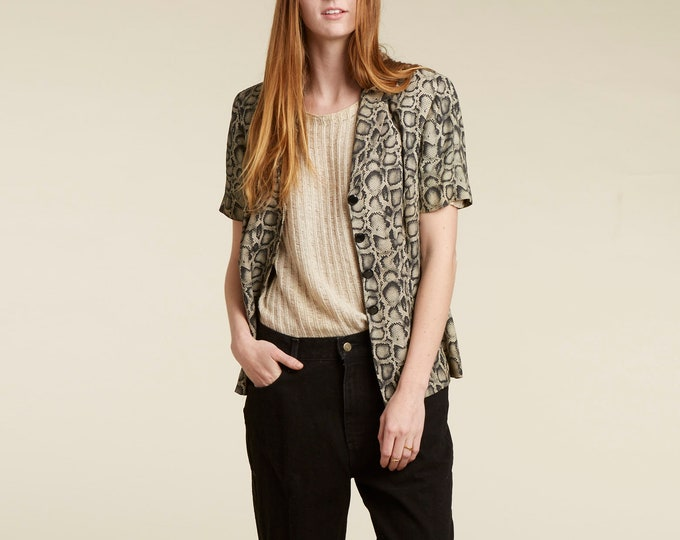 90s snakeskin short sleeve blazer