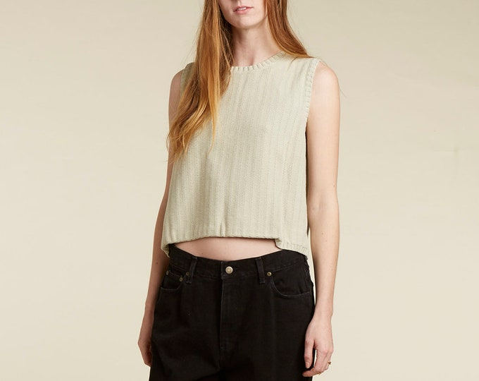 vtg 90s cotton sleeveless sweater / dusty sage color / ribbed / boxy / oversized / minimalist