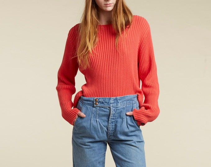 90s calvin klein jeans coral ribbed sweater