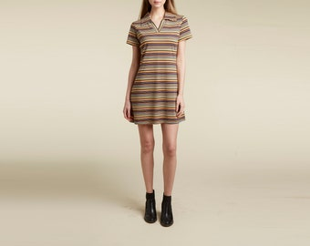stripe 90s mod a-line dress