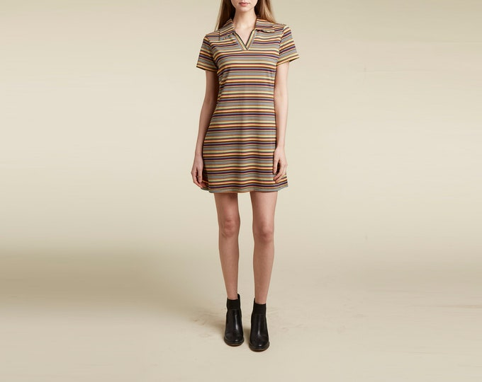 stripe 90s mod a-line dress