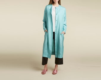 silk 90s striking pastel blue long midi jacket