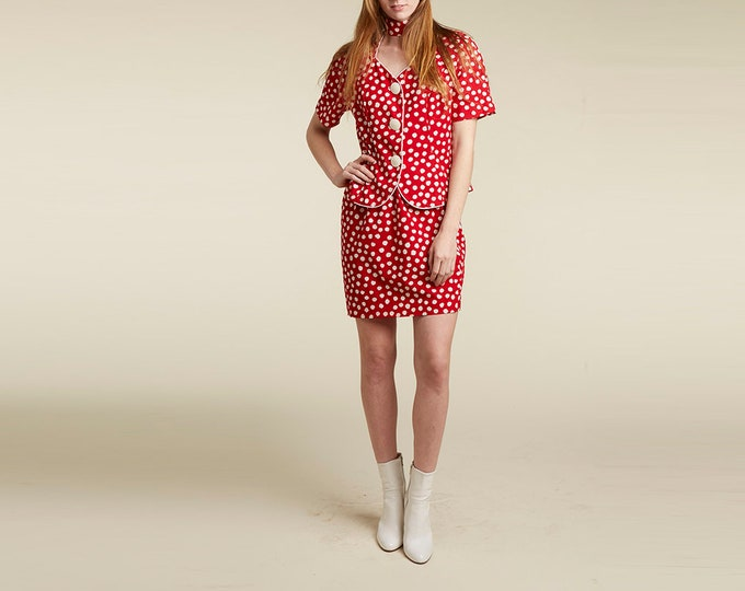 two piece set / red with white dots /  cotton / late 80s / pop / minimalism / xs s