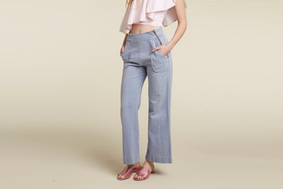 70s double zipper waist wide leg bell flare cropped jeans