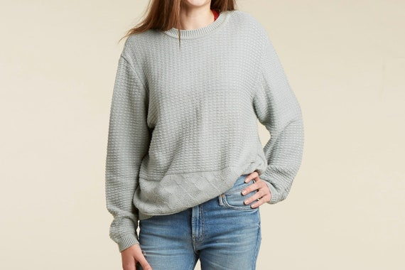 Half Off New Year Sale! 50% off   - vtg 90s dusky pastel sage green blue ribbed cropped sweater