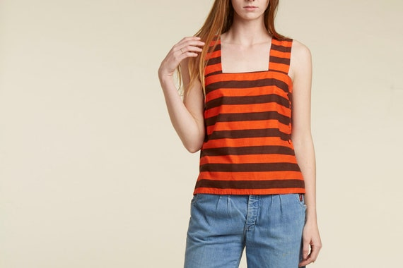 70s guy Laroche cult Parisian wide stripe tank shirt