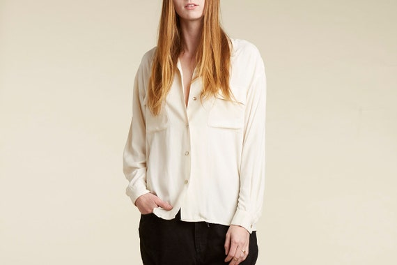 vtg 90s cream silk long sleeve  minimalist button down blouse