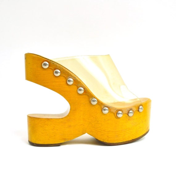 rare vintage 60S wooden lucite platform clogs shoe