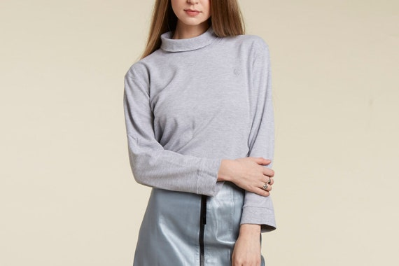 vtg 90s bill blass cropped heather gray turtle neck top