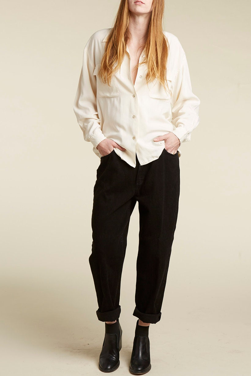 53973b402ada24 vtg 90s cream silk long sleeve minimalist button down blouse