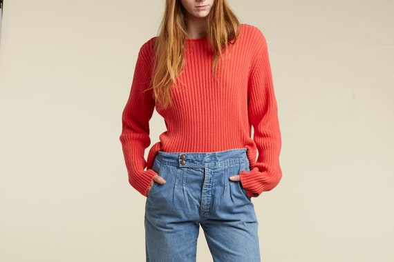 90s Calvin Klein bright colorful ribbed sweater