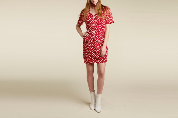 Half Off New Year Sale! 50% off   - 80s two piece dots red statement polka dot mini dress - two piece skirt set