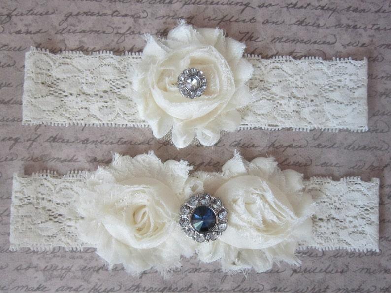 Something Sparkling Blue /& IVORY Wedding Garter Set Choose from Sapphire or Aqua