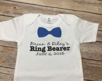 Personalized Bow Tie Ring Bearer One Piece Or Shirt
