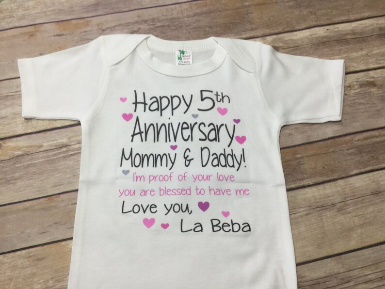 Happy Anniversary one piece or Shirt Custom Text ColorsWording