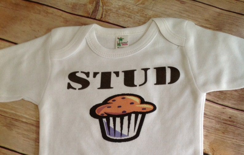 227da36e1 Stud Muffin Baby one piece or Shirt Custom Colors/Wording | Etsy
